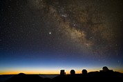 Observatories Prints - Milky Way And Observatories, Hawaii Print by David Nunuk