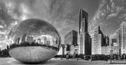 Gate Photograph Posters - Millennium Park in Black and White Poster by Twenty Two North Photography