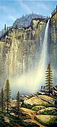 Watercolor And Gouache Paintings - Misty Falls by Frank Wilson