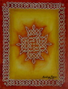 Dots And Lines Art - Mixed Media Kolam Two by Sandhya Manne