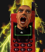 Screaming Posters - Mobile Phone Rage Poster by Victor Habbick Visions