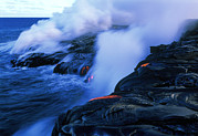 Hawai Prints - Molten Lava Flowing Into The Ocean Print by G. Brad Lewis