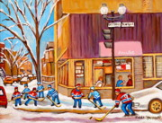 Children Playing Hockey Posters - Montreal Paintings Poster by Carole Spandau