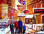 Montreal Cityscenes Painting Originals - Montreal Street In Winter by Carole Spandau