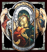 Byzantine Mixed Media Metal Prints - Mother of God Metal Print by Iosif Ioan Chezan