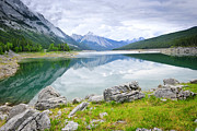 Alberta Landscape Framed Prints - Mountain lake in Jasper National Park Framed Print by Elena Elisseeva