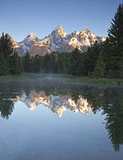 Mountain Reflection Posters - Mountain Reflections Poster by Andrew Soundarajan