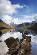 Mountain Scene Prints - Mountains And Lake, Lake District Print by John Short
