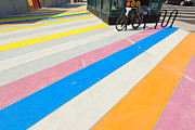 Stripe.paint Posters - Multicolored painted sidewalk. Poster by Andrei Orlov