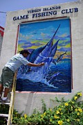 Sharks Paintings - Mural in St Thomas by Carey Chen