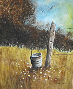 Acrylic Paintings - My Old Bucket by Curt Simpson