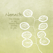 Tree Leaf Mixed Media Posters - Namaste Poster by Linda Woods