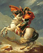 Military Painting Framed Prints - Napoleon Crossing the Alps on 20th May 1800 Framed Print by Jacques Louis David