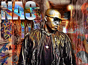 Rapper Mixed Media Framed Prints - Nas Framed Print by The DigArtisT