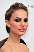 Hair Bun Framed Prints - Natalie Portman At Arrivals Framed Print by Everett
