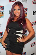 Magenta Dress Prints - Nicole Snooki Polizzi At Arrivals Print by Everett