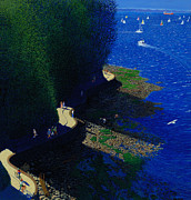 Blue And Green Paintings - North Seawall at Low Tide by Neil Woodward