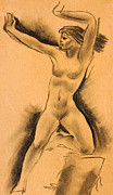 Clip Drawings Prints - Nude girl Print by Odon Czintos