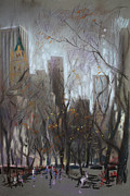People Pastels Metal Prints - NYC Central Park Metal Print by Ylli Haruni