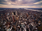 Landscapes Posters - NYC Downtown Poster by Nina Papiorek