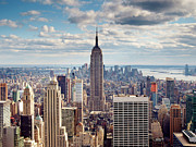 Empire State Building Framed Prints - NYC Empire Framed Print by Nina Papiorek