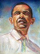 Politicians Pastels Posters - Obama 08 Poster by Dennis Rennock