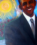 Barack Obama Painting Posters - Obama Poster by Jenny Goldman