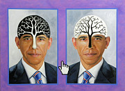 Barack Obama Painting Framed Prints - Obama Trees of Knowledge Framed Print by Richard Barone