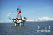 Oil Pump Photos - Offshore Oil Drilling Platform, Alaska by Joe Rychetnik