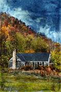 Haunted House Posters - Old Abandoned House in Fall Poster by Jill Battaglia