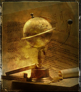 Textured Effect Prints - Old globe Print by Bernard Jaubert