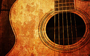 Copy Mixed Media Metal Prints - Old Guitar Metal Print by Nattapon Wongwean