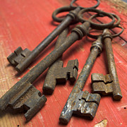 Old Objects Photo Metal Prints - Old keys Metal Print by Bernard Jaubert