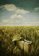 Agricultural Prints - Old suitcase with straw hat in field Print by Sandra Cunningham