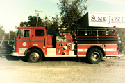 Wingsdomain Art and Photography - Old Whitney Seagrave Fire Engine At The Sunol Jazz Cafe In Sunol California . 7D10785