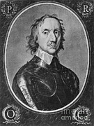 English Civil War Prints - Oliver Cromwell, English Political Print by Photo Researchers
