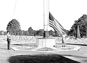 Memorial Day Drawings Prints - Omaha Beach WWII American Cemetery Print by Joseph Hendrix