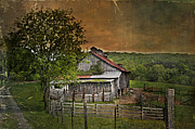 Old Barn Posters - On The Farm Poster by Kathy Jennings