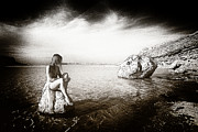Nude Models Prints - On the rocks Print by Manolis Tsantakis