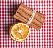 White Cloth Posters - Orange and Cinnamon Poster by Nailia Schwarz