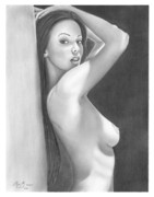 Olga Bell Drawings Originals - Original Pencil Drawing Nude Girl www.olgabell.ca by Olga Bell