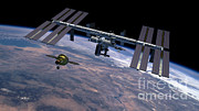 Orion Photos - Orion Approaching Iss by Nasa