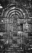 Ornate Carved Window In The 12th Century Banagher Old Church County Derry Londonderry Print by Joe Fox