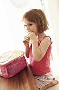 Kid Eating Snack Prints - Packed Lunch Print by Ian Boddy