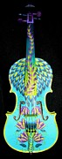 Vivid Sculpture Prints - Painted Violin Print by Elizabeth Elequin