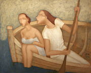 Kiss Paintings - Pair in a boat  by Nicolay  Reznichenko