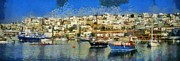 Boat Paintings - Panoramic painting of Mikrolimano port by George Atsametakis