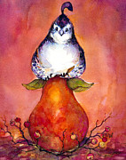 Bosc Framed Prints - Partridge and Pear Framed Print by Peggy Wilson