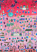 Wallpaper Mixed Media Prints - Pattern of art in Asia Print by Setsiri Silapasuwanchai