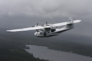 Seaplane Prints - Pby Catalina Vintage Flying Boat Print by Daniel Karlsson